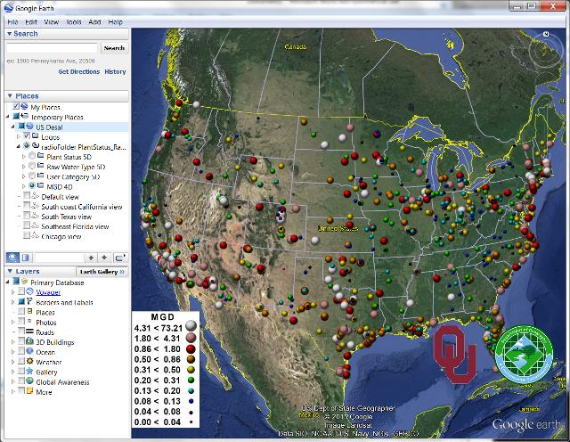 Desalination US map KMZ